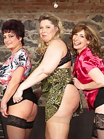 Three horny housewives play with two naughty guys